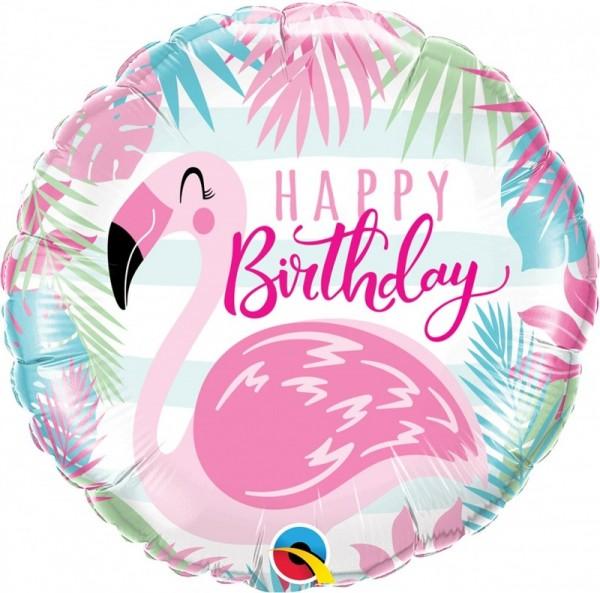 Folienballon Happy Birthday Flamingo, ca. 45 cm