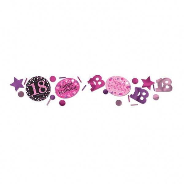 Konfetti Streudeko 18 pink/lila/schwarz/weiß/silber Mix, 3-fach, ca. 34 gr.