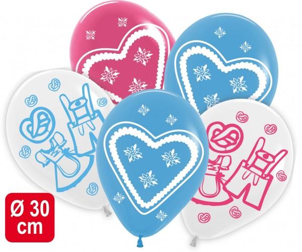 5 Ballons Bayern weiß/blau/pink, ca. 30 cm