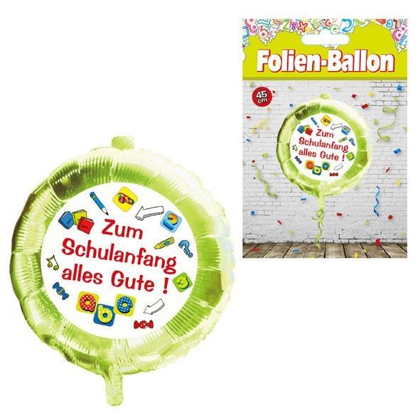 Folienballon Zum Schulanfang alles Gute, grün/bunt, ca. 45 cm