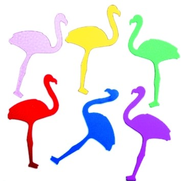 Folien-Konfetti Flamingo bunt, Box ca. 5,7x4x1,2 cm