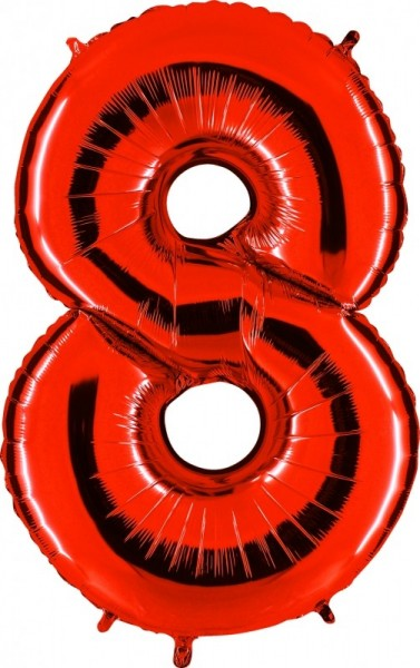Folienballon Zahl 8, ca. 100 cm, rot