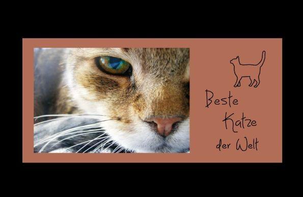 Bilderrahmen Beste Katze der Welt, ca. 25 x 12 cm, Holz BRAUN