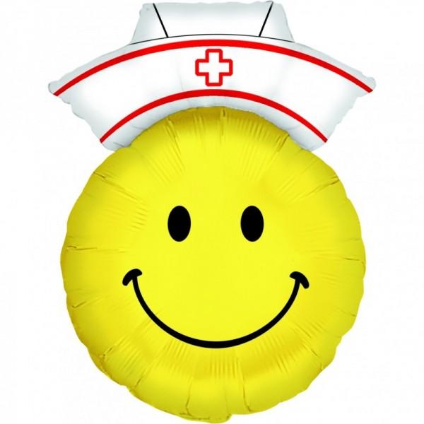 Ballongruß: Happy Face Krankenschwester, ca. 70 cm