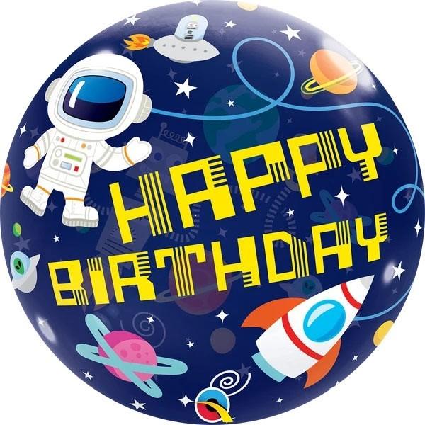 Ballongruß: Bubble Happy Birthday Weltall, ca. 56 cm