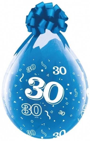 Zahl 30 Verpackungsballon, transparent, Qualatex, ca. 45 cm