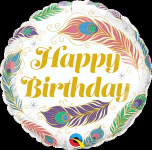 Folienballon Happy Birthday Federn ca. 45 cm