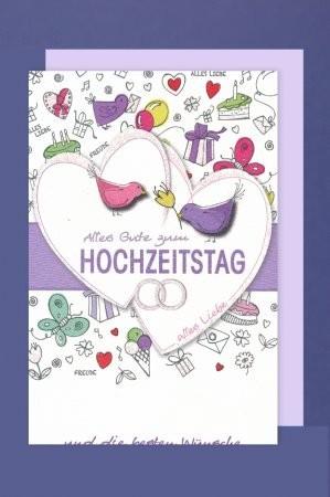 Grußkarte: Alles Gute zum Hochzeitstag - Doppelherz mit Glitter - bunt