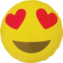Folienballon Emoji Heart Eyes, ca. 45 cm