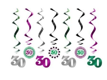 Swirl-Deko 30 silber/schwarz/lila/grün, 7 St.
