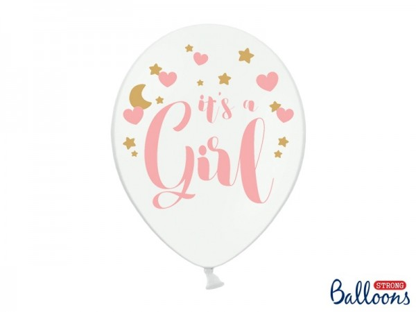 "6 Weiße Ballons mit rosa ""It's a Girl"" Schriftzug und rosa/goldenen Motiven, ca. 30 Durchmesser"