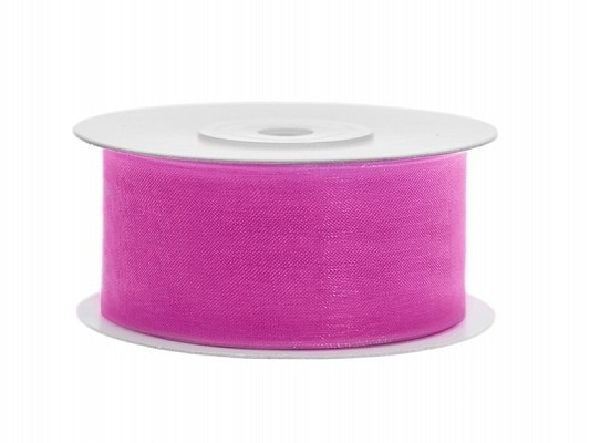 Organzaband pink, 3,8 cm, 25 Meter-Rolle