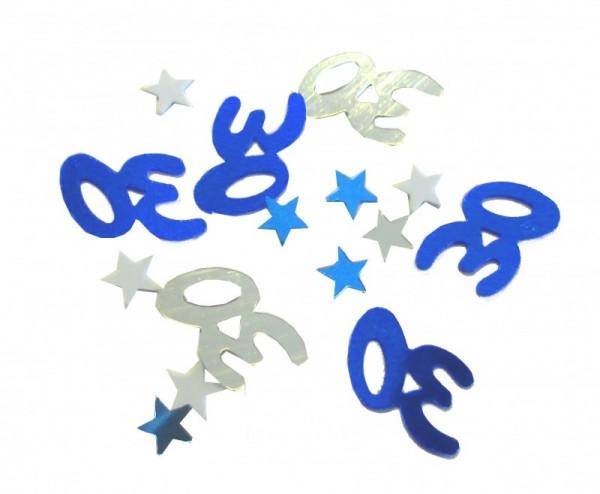 Folien-Konfetti 30 silber/blau, Box ca. 5,7x4x1,2 cm