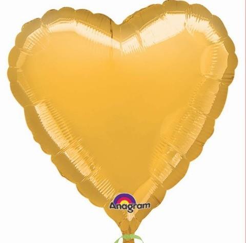 Ballongruß: Herz, gold, ca. 60 cm