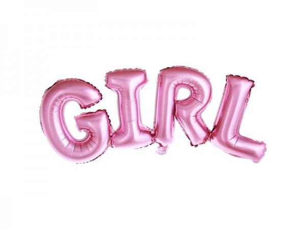 """Folienballon mit dem Schriftzug """"GIRL"""" in rosa, ca. 74x33 cm, für Luftbefüllung"""
