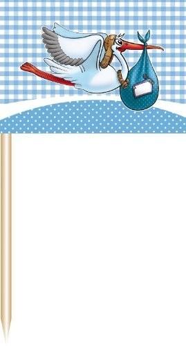 Fähnchen/Picker Storch, blau, 50 St.
