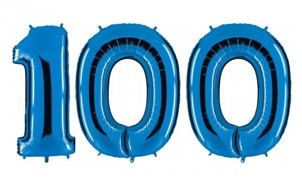 Folienballon Set Zahl 100, ca. 100 cm, blau