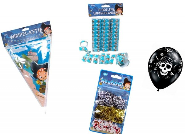 Dekoset Pirat: Ballons, Konfetti, Luftschlangen, Wimpelkette - 12tlg.