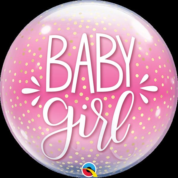 Ballongruß: Bubble Baby Girl , Confetti, ca. 56 cm