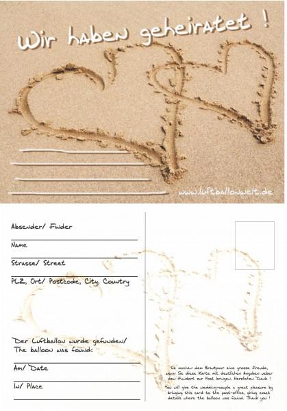 Ballonflugkarten, 50 St., Wir haben geheiratet, Herzen im Sand