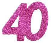 Streudeko 40 Glitter pink, ca. 6x5 cm, 6 St.
