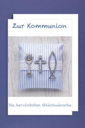 Grußkarte: Zur Kommunion die herzlichsten Glückwünsche - Symbole auf blau/weißem Kissen