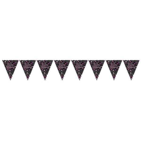 Wimpelkette Happy Birthday, schwarz/pink/silber, ca. 4 Meter