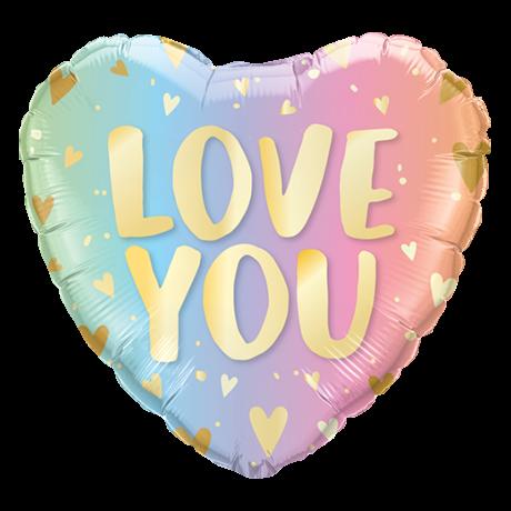 Ballongruß: LOVE YOU, Pastell Ombre, ca. 45 cm
