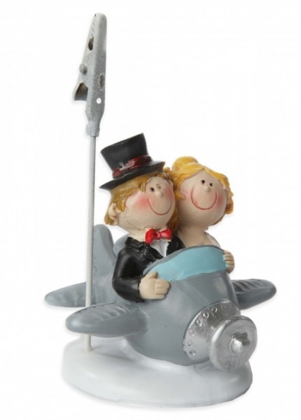 Hochzeitspaar im Flugzeug, ca. 6,5 cm, Polystone