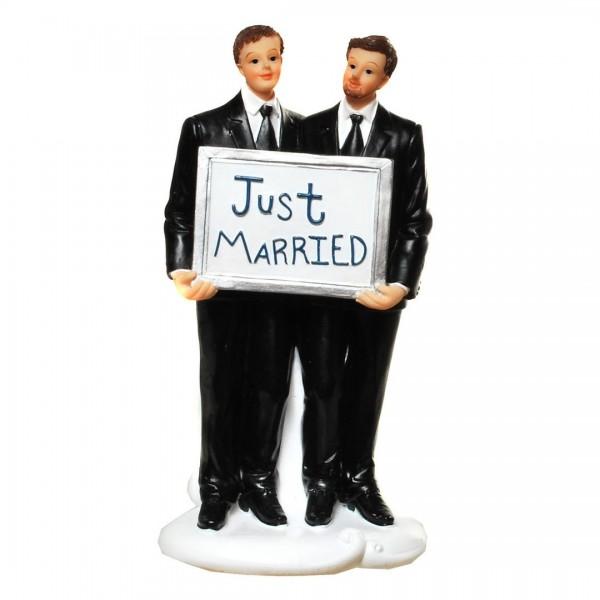 Brautpaar Männer mit Schild Just married, ca. 16 cm