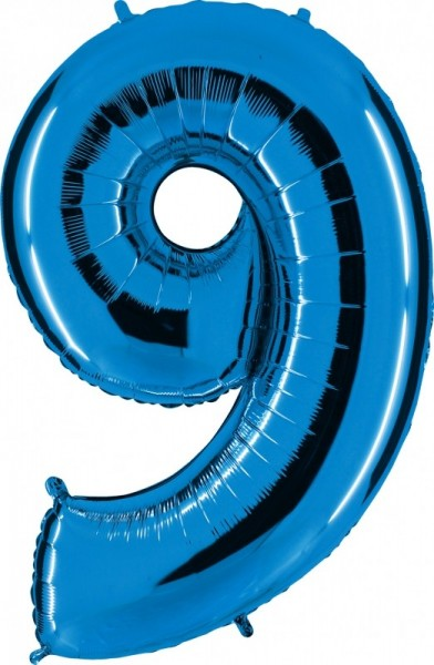 Folienballon Zahl 9, ca. 66 cm, blau