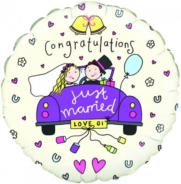 Ballongruß: Congratulations Just married, Brautpaar im Auto, ca. 45 cm