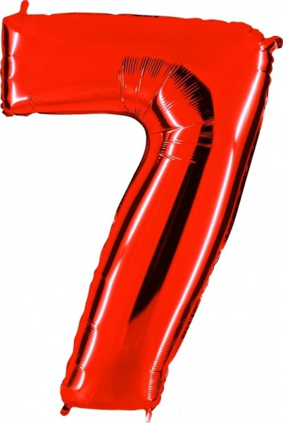 Folienballon Zahl 7, ca. 100 cm, rot
