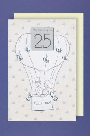 Grußkarte: Zur Silberhochzeit 25 - Heißluftballon