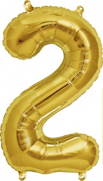 Folienballon Zahl 2, ca. 35 cm, GOLD, für Luftbefüllung