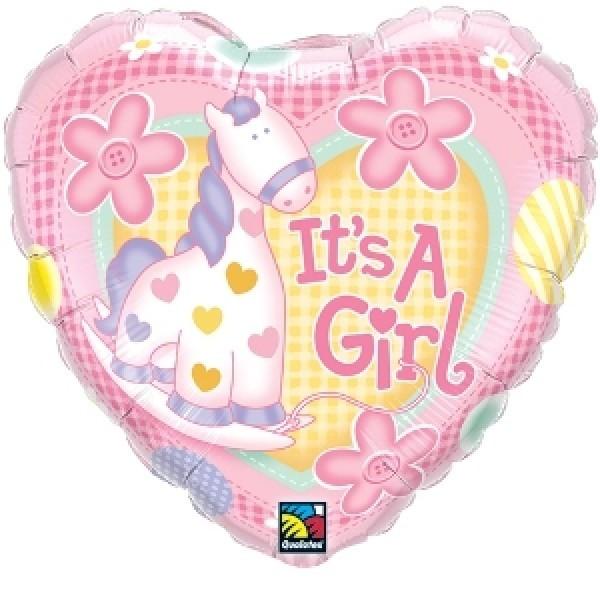 Folienballon It`s a girl, Pferd, ca. 45 cm