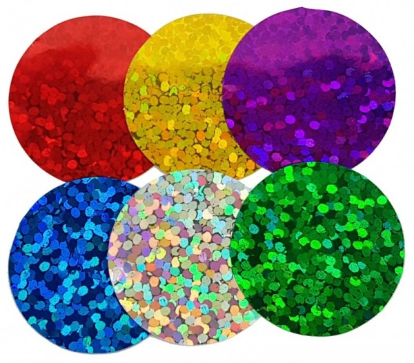 Konfetti Punkte bunt gemischt, Holografie-Folie, ca. 2 cm