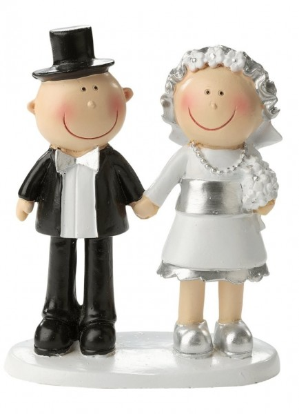 Silberhochzeit Brautpaar, Polystone, ca. 8,5 cm