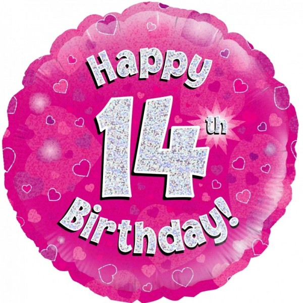 Folienballon Happy 14th Birthday PINK, ca. 45 cm