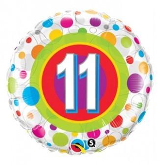 Ballongruß: 11 Geburtstag, ca. 45 cm