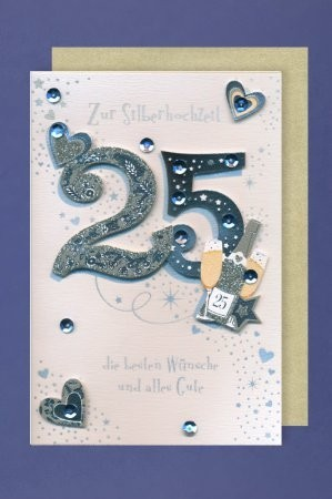 Grußkarte: Zur Silberhochzeit 25 - mit Applikationen silber und blau