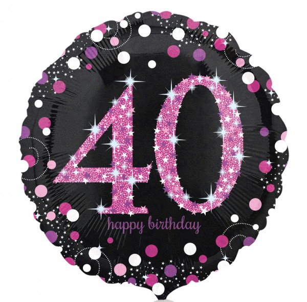 Folienballon 40 schwarz/weiß/pink, ca. 45 cm