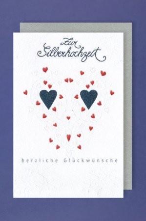 Grußkarte: Zur Silberhochzeit herzliche Glückwünsche - Herzchen silber/rot