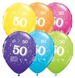 5 Zahlenballons 50 Qualatex, Tropical-Mix, ca. 30 cm
