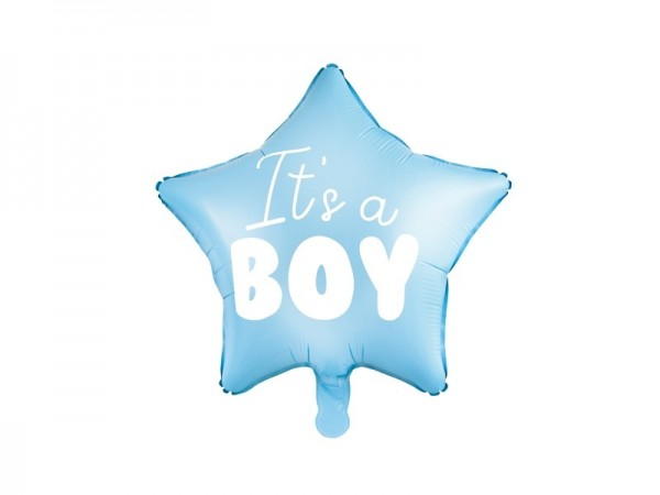 Ballongruß: It`s a boy, blauer Stern, ca. 45 cm