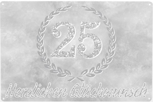 Blechschild Silberhochzeit, ca. 30 x 20 cm