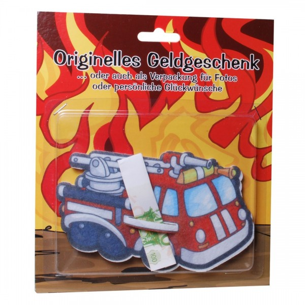 Feuerwehrauto Filz für z.B. Geldgeschenk, ca. 9x15,5 cm
