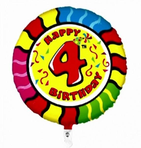 Folienballon Happy 4th Birthday, Animaloons, ca. 53 cm