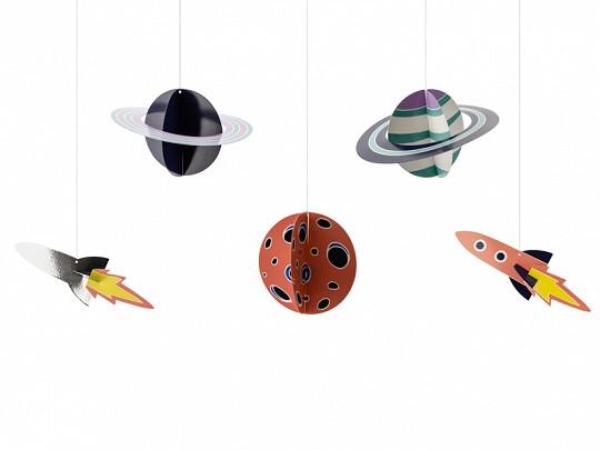 Hängedeko Space Party , ca. 3,5 - 16,5 cm, 5 St.