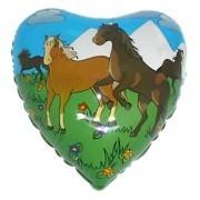 Folienherz Pferde auf der Weide, ca. 45 cm